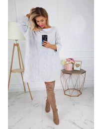 Свободна плетена рокля в сиво - код 302