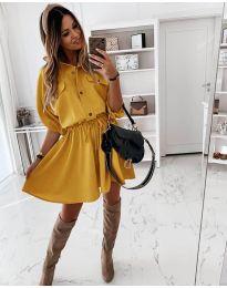 Свободна дамска рокля в цвят горчица - код 8586