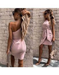 Асиметрична рокля с колан в розово - код 2457