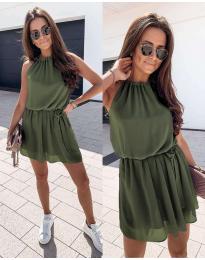 Ефирна дамска рокля в маслено зелено - код 513