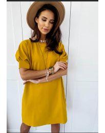 Коктейлна рокля в цвят горчица - код 9868