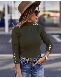 Дамска блуза в маслено зелено  - код 7971