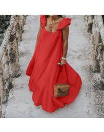 Свободна дълга рокля в червено - код 9036