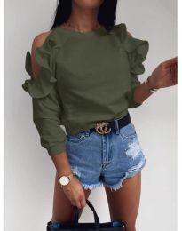 Дамска блуза с ефектни ръкави в маслено зелено - код 3434