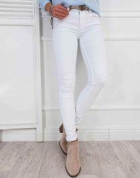 Изчистен дамски панталон в бяло - код 0325