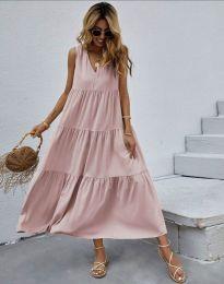 Свободна дълга рокля в розово - код 8149