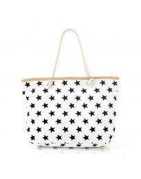 Плажна чанта в бяло  на черни звездички - код H-9025