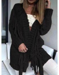 Дамска плетена жилетка с пискюли в черен цвят - код 246 - 5