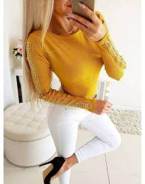 Блуза в цвят горчица с тюл и камъни на ръкавите - код 3500