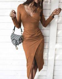 Стилна дамска рокля в кафяво - код 4769