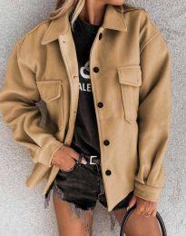 Дамско свободно късо палто в кафяво - код 4984