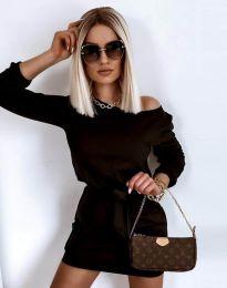 Къса дамска рокля в черно - код 12038