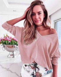 Дамска блуза в цвят пудра - код 3972