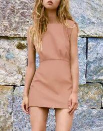 Дамска рокля в цвят пудра - код 1233