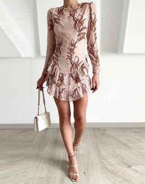 Феерична рокля в бежово с атрактивен десен - код 3610