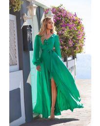 Дълга рокля с цепка в зелено - код 8477