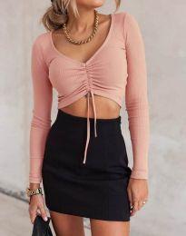 Къса дамска блуза в розово - код 11632