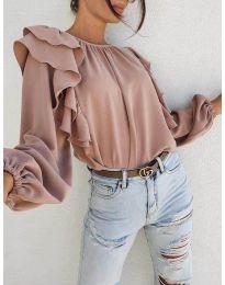 Елегантна блуза в цвят пудра  - код 0509