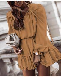 Свободна дамска рокля в кафяво - код 3231