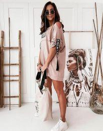 Дамска спортна рокля в цвят пудра - код 5475