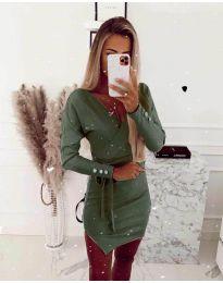 Дамска рокля в маслено зелено - код 2077