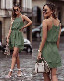 Феерична рокля в масленозелено - код 2104