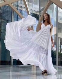 Дълга ефирна рокля в бяло - код 6838