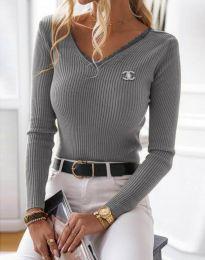 Стилна дамска блуза в сиво - код 5946
