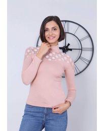 Дамска блуза в цвят пудра - код 5377