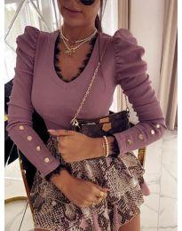 Атрактивна дамска блуза в цвят пудра - код 4156