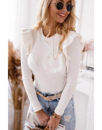 Екстравагантна дамска блуза в бяло - код 1454