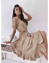 Атрактивна дамска рокля в цвят капучино - код 11893