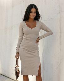 Стилна дамска рокля в бежово - код 12106