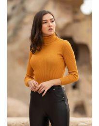 Дамска блуза с поло яка в горчица - код 0055
