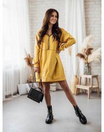 Дамска рокля в цвят горчица - код 6113