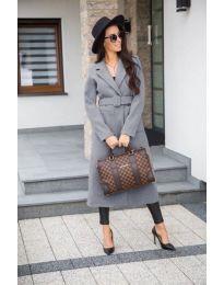 Сиво дълго дамско палто с колан - код 203