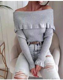 Дамска блуза с лодка деколте в сиво - код 7131