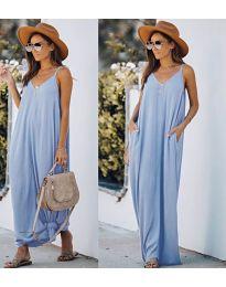 Свободна дълга рокля в светло синьо - код 0209