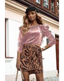 Дамска блуза в цвят пудра - код 4948