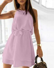 Дамска рокля с колан в лилаво - код 9968