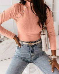 Дамска блуза с поло яка в цвят праскова  - код 5690