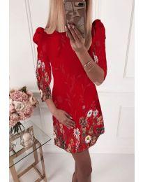 Елегантна рокля с флорални мотиви в червено - код 240