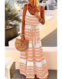 Дълга рокля с атрактивен десен в оранжев цвят - код 621