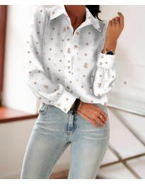 Дамска бяла риза с дълги ръкави и десен на звездички - код 651