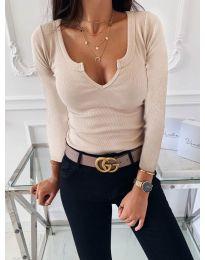 Изчистена дамска блуза в бежово - код 875