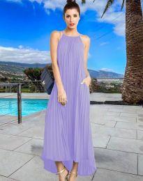 Дълга лятна рокля в светлолилаво - код 6999