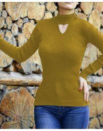 Дамска блуза с поло яка в цвят горчица - код 5191