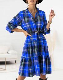 Карирана дамска рокля в синьо - код 6842