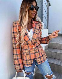 Дамско сако в оранжево каре - код 4715
