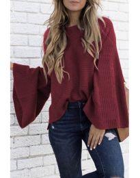 Блуза с ефектни ръкави в бордо - код 076